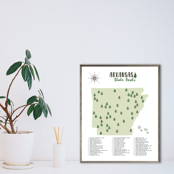 arkansas state parks map-hiking gift ideas-arkansas map print