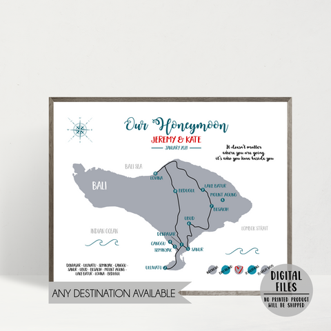 personalized gift for husband-map print-custom travel map-honeymoon travel map