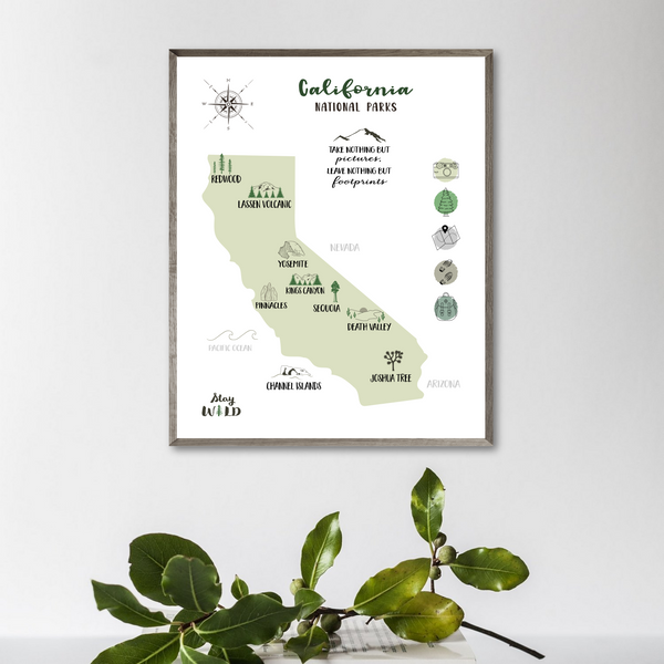 california national parks map-california print