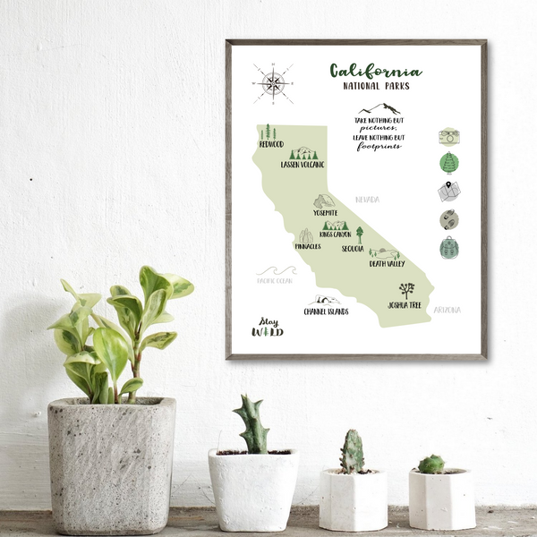 california national parks map print-illustrated map of california
