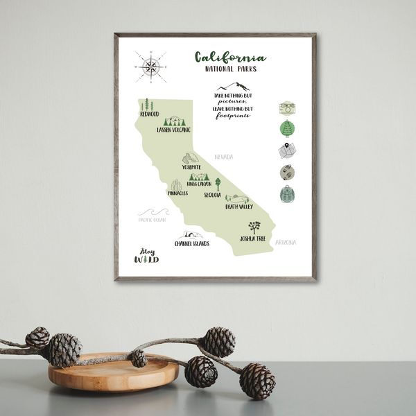 california map-california travel map-gift for hiker