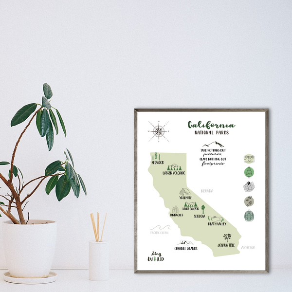 california national parks map - gift for vanlifer