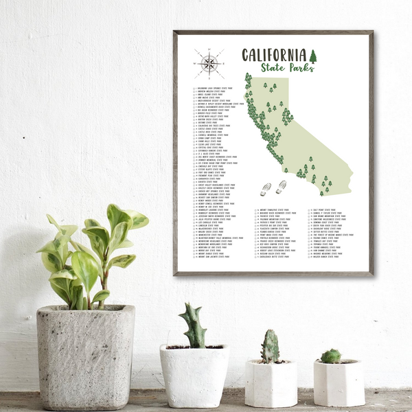 california state parks map-california state parks poster