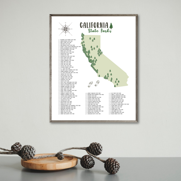california state parks map print-gift for traveler