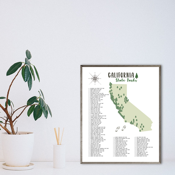 california state parks map poster-hiking gift ideas