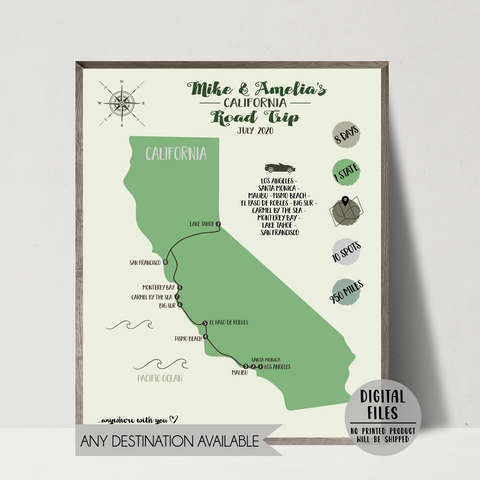 personalized travel map-custom travel map-california travel map