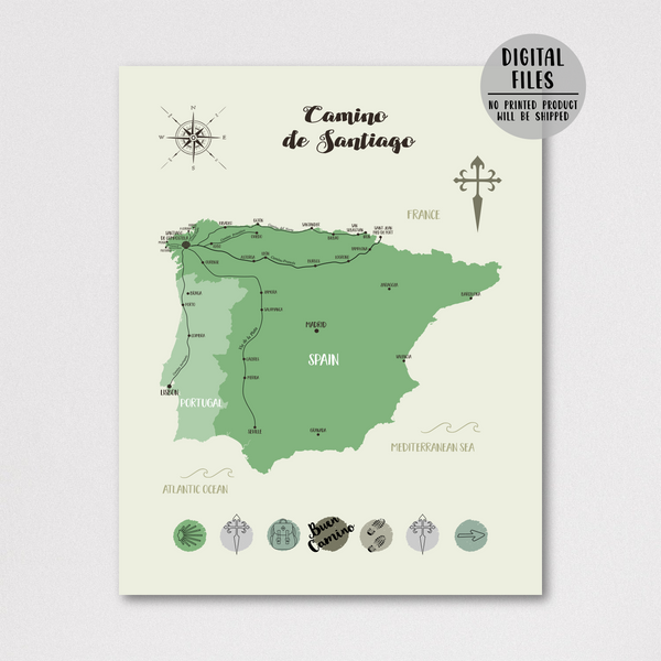saint james way map-camino de santiago map