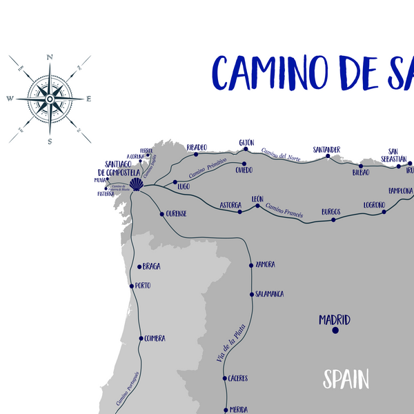 camino santiago map for printing