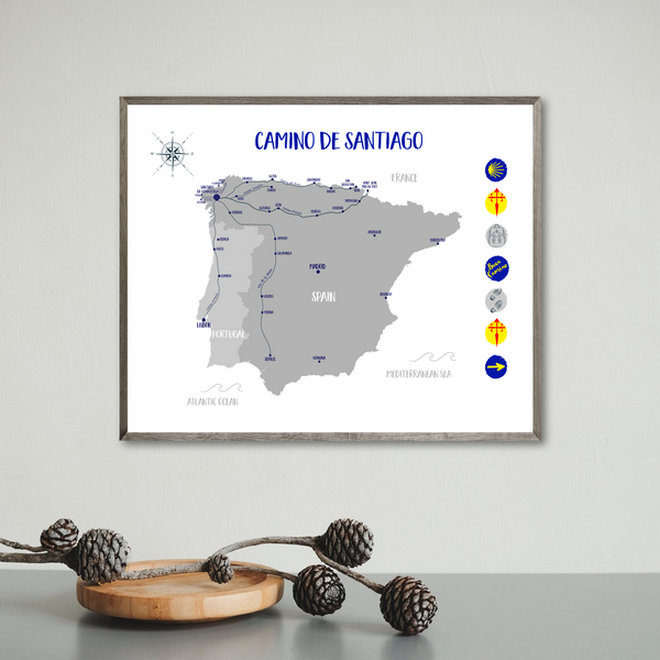 way of saint james walking map-camino de santiago map
