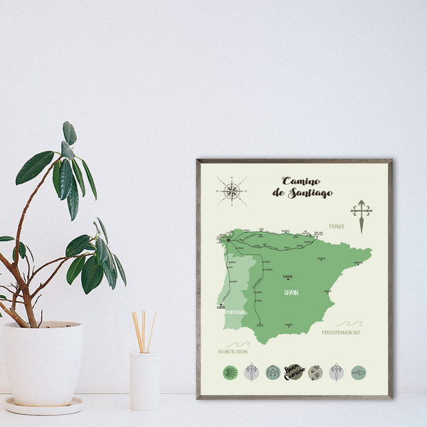 camino de santiago map print-way of saint james walking map