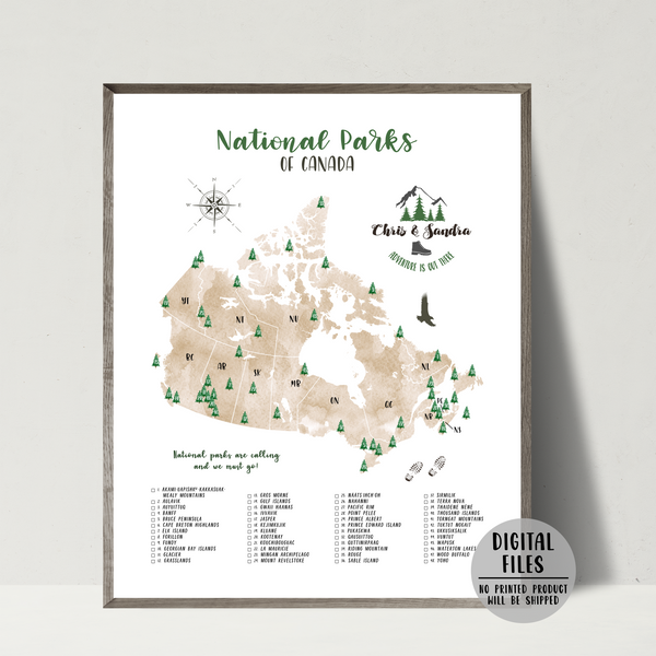 canada national parks map-personalized gift for traveler