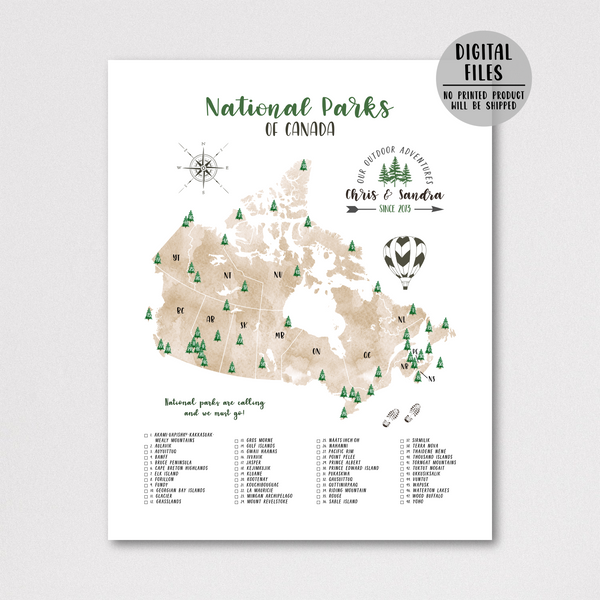 personalized map of canada national parks