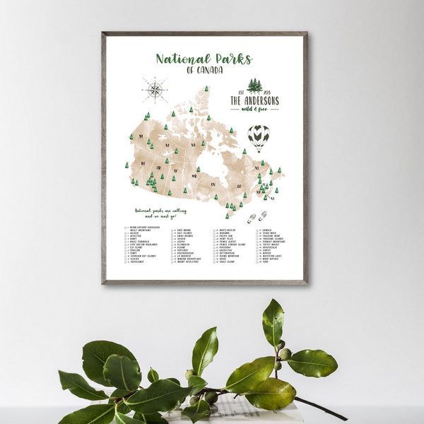 canada national park map-personalized map gift for hiker