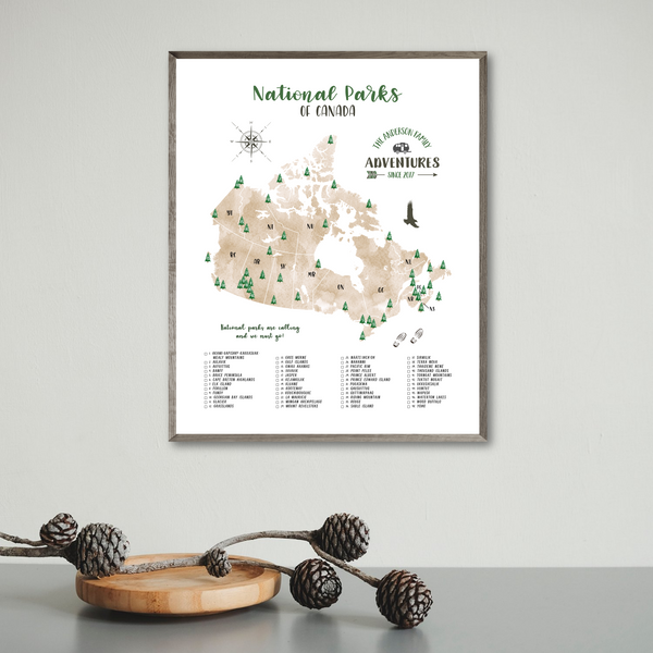 personalized map-canada national parks map print