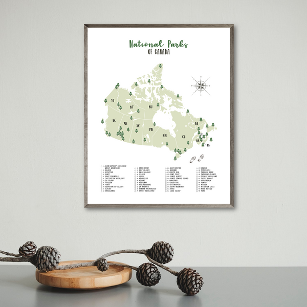 canada national parks checklist-canada national parks map print
