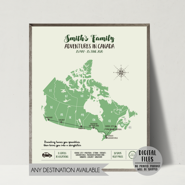 Personalized Travel Map | Custom Trip Map | Canada Travel Map