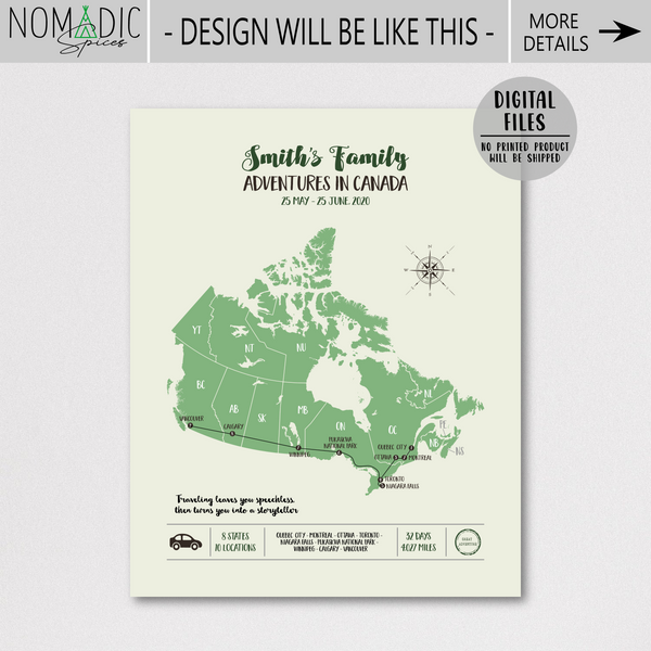 custom travel map-personalized map print-canada travel map poster