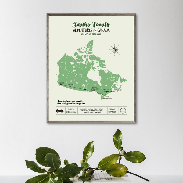 personalized travel map-canada road trip map print