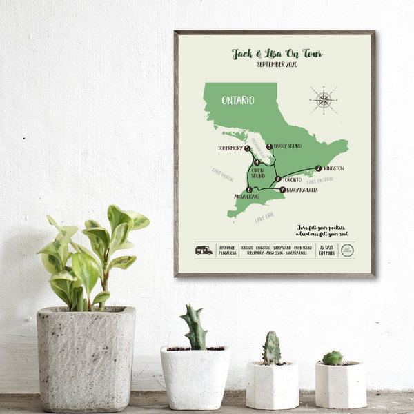 personalized trip map-Canada map-personalized gift for traveler