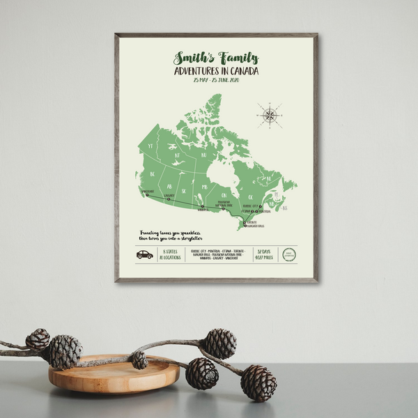personalized travel map print-canada travel map-adventure map print