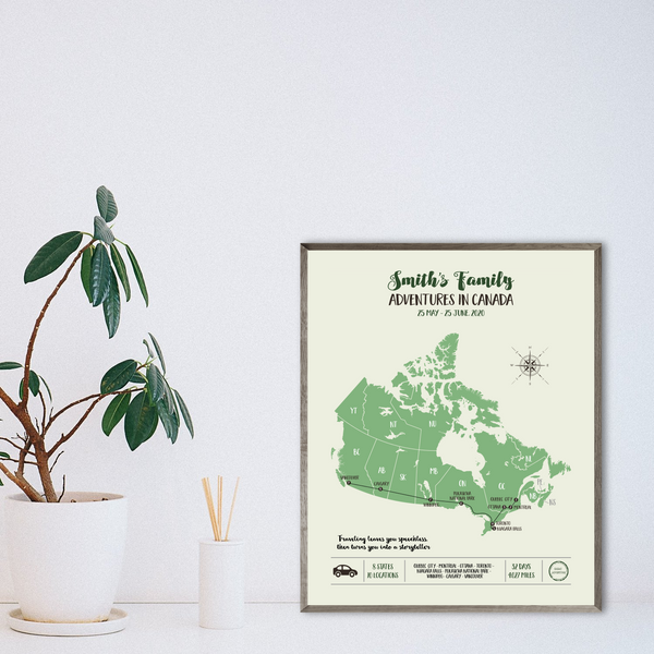 canada travel map-personalized travel gift map