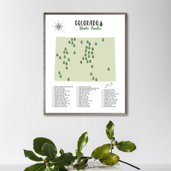 Colorado State Parks Map-Adventure Print
