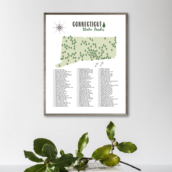 connecticut state parks map print-connecticut state parks poster