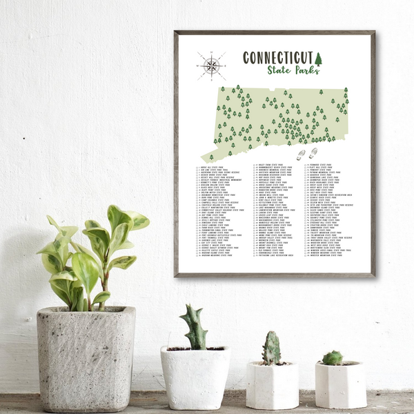 connecticut state parks map poster-hiking gift ideas