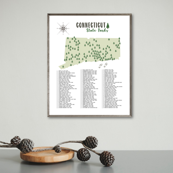 connecticut state parks map print-gift for traveler