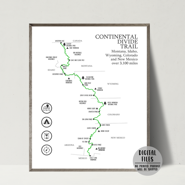 continental divide trail map print-gift for hiker