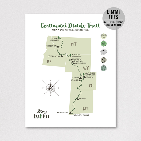 continental divide trail hiking map-continental divide trail map