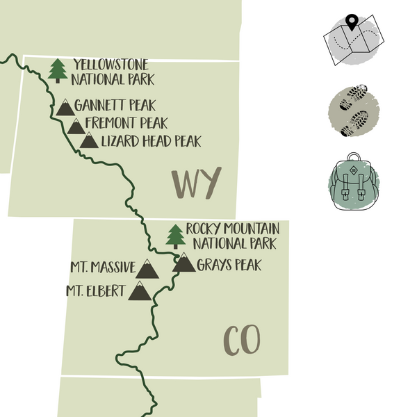 continental divide trail hiking map-continental divide trail map-gift for hiker