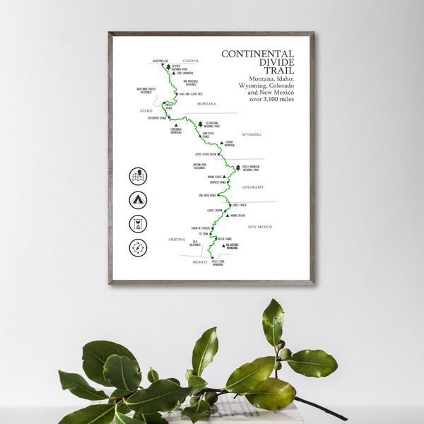 continental divide trail map-hiking gift ideas