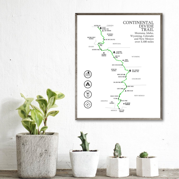 continental divide trail hiking map print-gift for him-gift for her