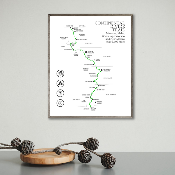 continental divide trail map poster-hiking gift ideas