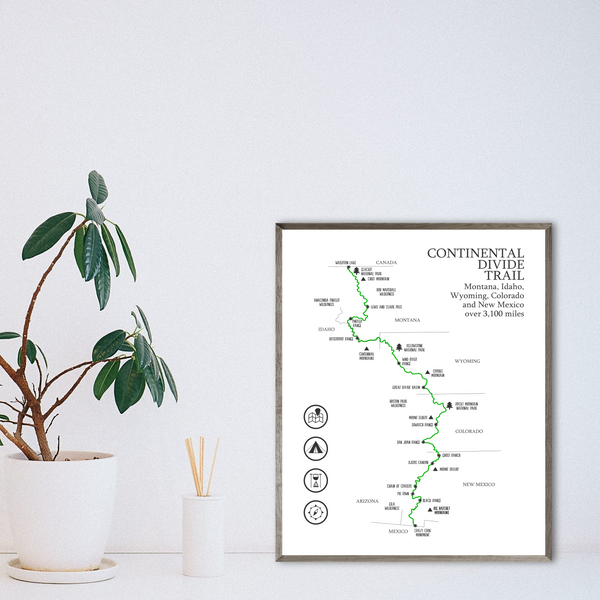 continental divide trail map-adventure map-hiking map print