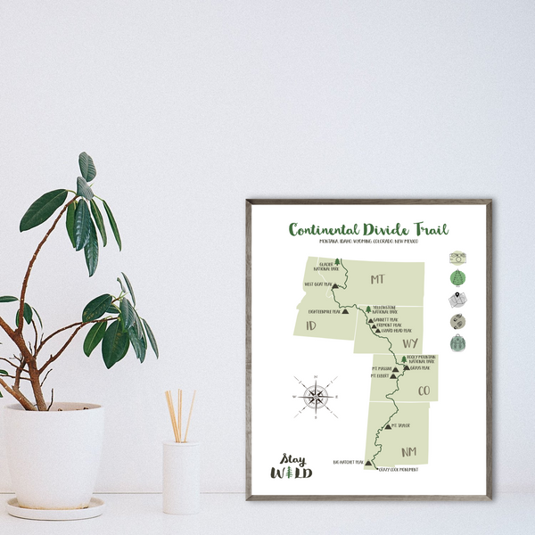 continental divide trail hiking map-continental divide trail map-trail poster