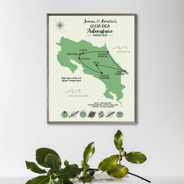 personalized trip map-costa rica travel map print-travel gift ideas