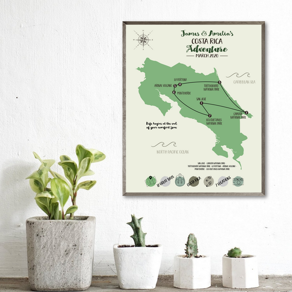 personalized road trip map-honeymoon travel map-travel gift ideas