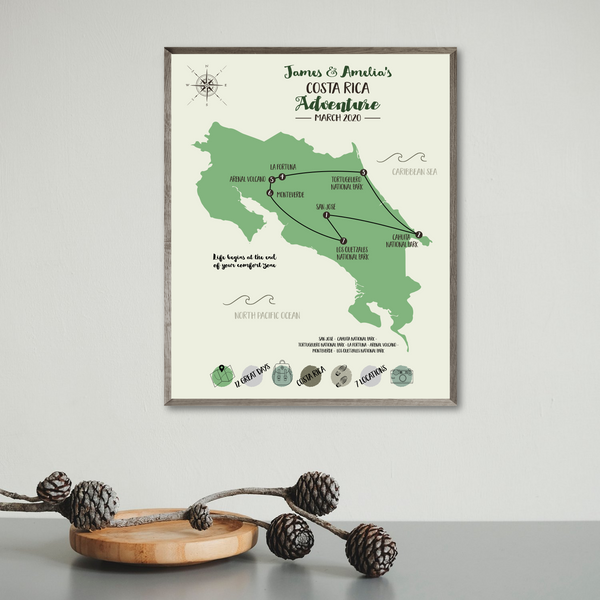 custom road trip map-personalized travel map-adventure map print