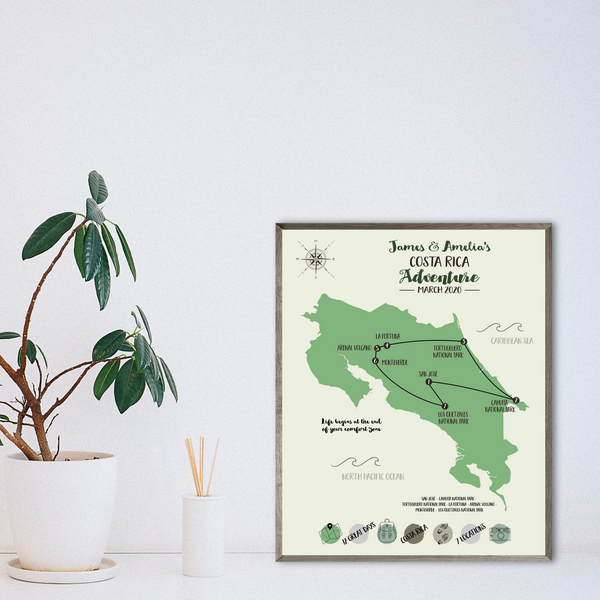 personalized travel map-costa rica map print-gift for adventurer
