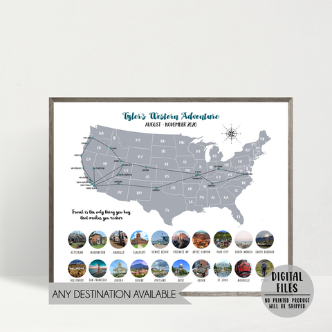 map photo collage-map collage-travel collage-personalized trip map