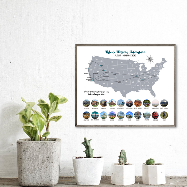 usa photo collage-map collage-personalized gift for traveler