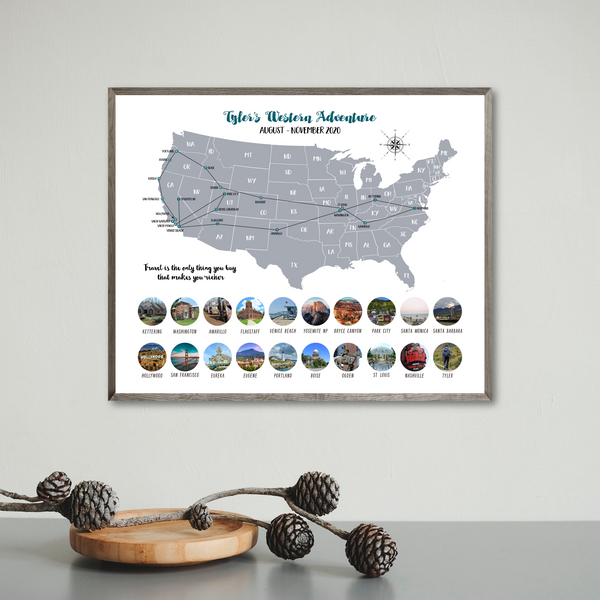 usa travel map-usa photo collage map-usa collage map poster