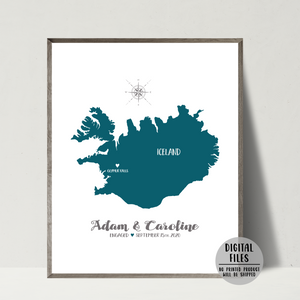 engagement map-personalized gift-anniversary gift for him