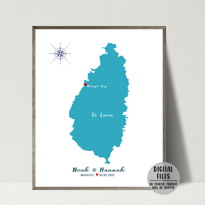 personalized wedding location map-wedding map-gift for couple