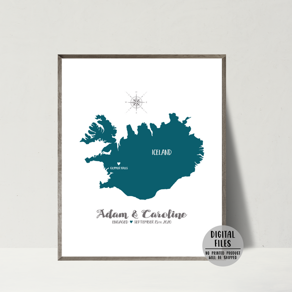engagement location map-wedding location map-personalized gift for couple