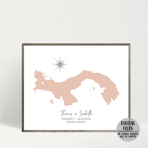 personalized engagement location map-anniversary gift for husband-gift for wife