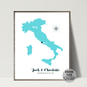 anniversary gift-personalized engagement map