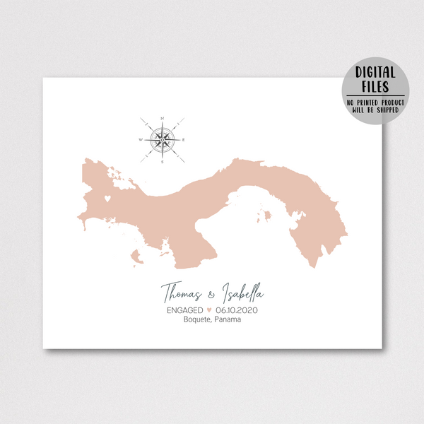 personalized engagement map-engagement location map-gift for him-gift for her